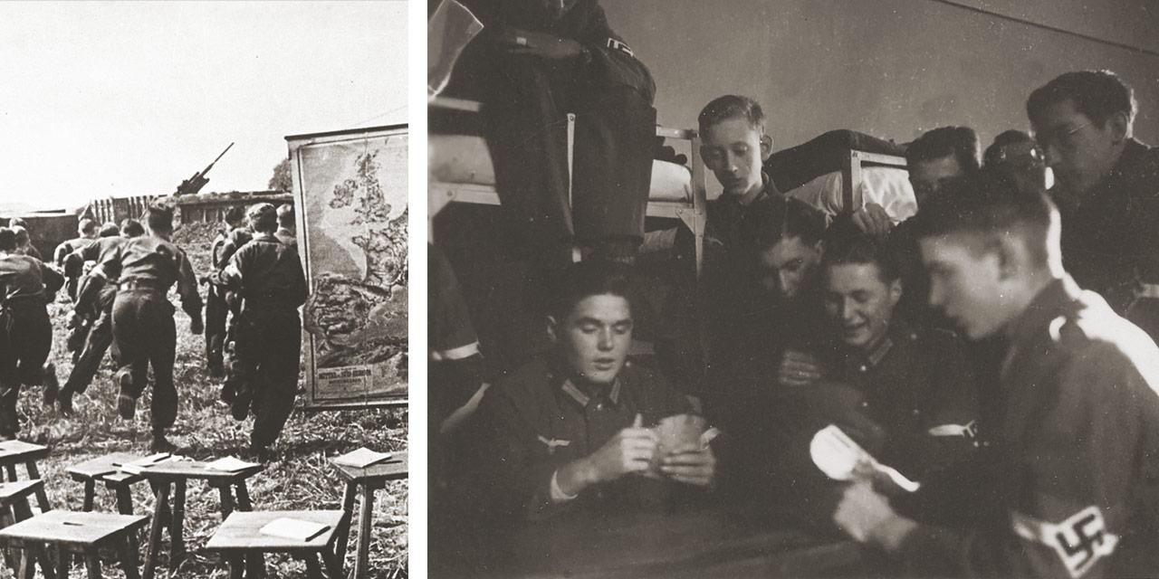 Flakhelfer während eines Übungsalarms und in ihrer Baracke. Foto: Bundesarchiv Potsdam und Ferdinand Klaever, Nürnberg